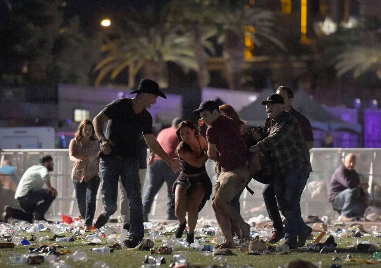 Vegas People Taking Cover