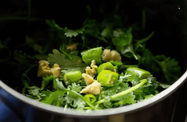 Chop ginger, green chili & Coriander leaves