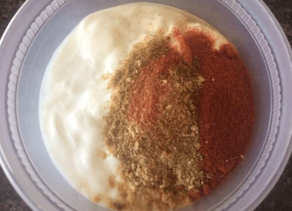 add dry spices to yogurt
