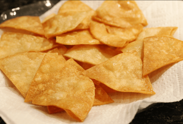transfer the chips to a plate lined with absorbent paper
